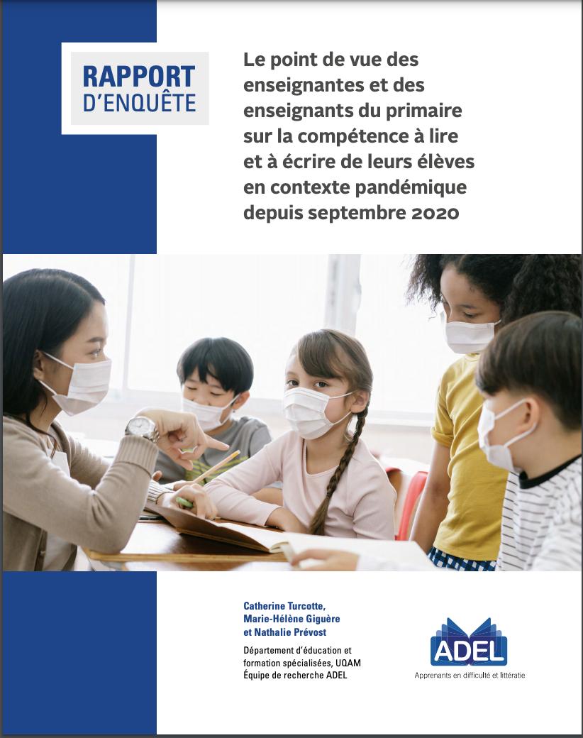 rapport d'enquête sur les effets de la pandémie en lecture et en écriture au primaire