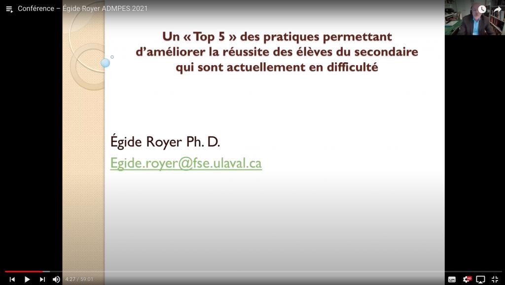 Conférence Égide Royer - ADMPES 2021