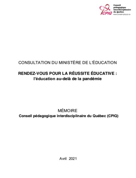 RENDEZ-VOUS POUR LA RÉUSSITE ÉDUCATIVE : l'éducation au-delà de la pandémie